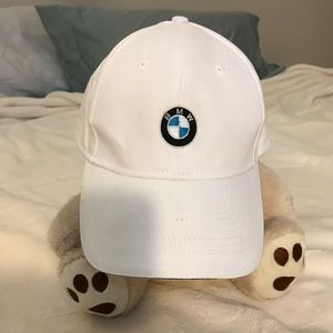 White bmw logo hat adjustable unisex embroidered